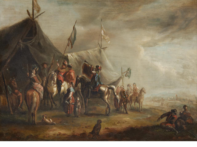 After Philips Wouwerman, 18th Century An army camp; and An army camp with a figure playing the bugle, a pair  (2)