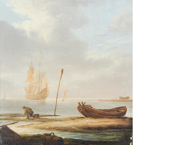 English School, 18th Century A fisherman on the seashore