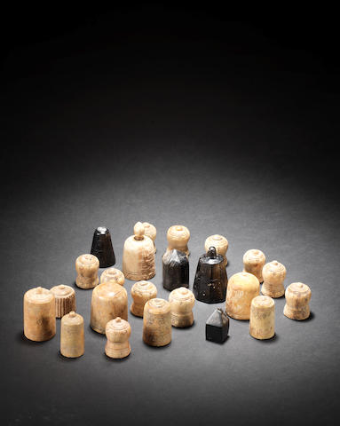A group of ivory chess pieces Nishapur