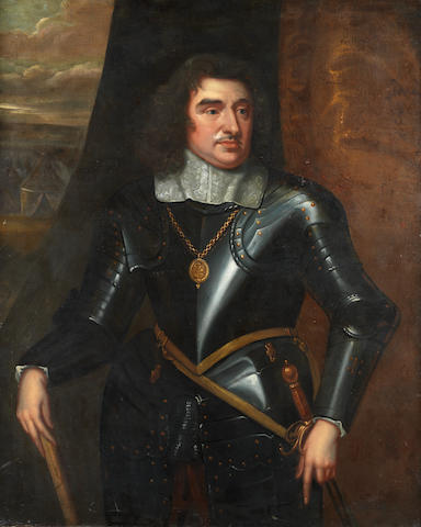Manner of Robert Walker, early 18th Century Portrait of General Monck, 1st Duke Albermarle, three-quarter-length, in armour, with a white lace collar, a view to an army encampment beyond