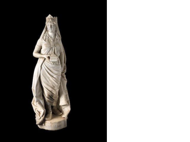 Large marble figure of Queen of Sheba, Eli Johnson, 1879