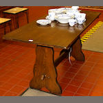 A modern oak refectory type dining table