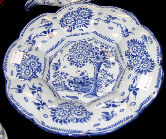 An 18th century blue and white Delft dish, probably Nevers