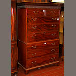 An early 19th Century chest on chest with later cornice,