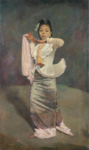 Sir Gerald Festus Kelly (British, 1879-1972) Burmese Dancer No.3; The Incantation 158.7 x 94 cm. (62 1/2 x 37 in.)