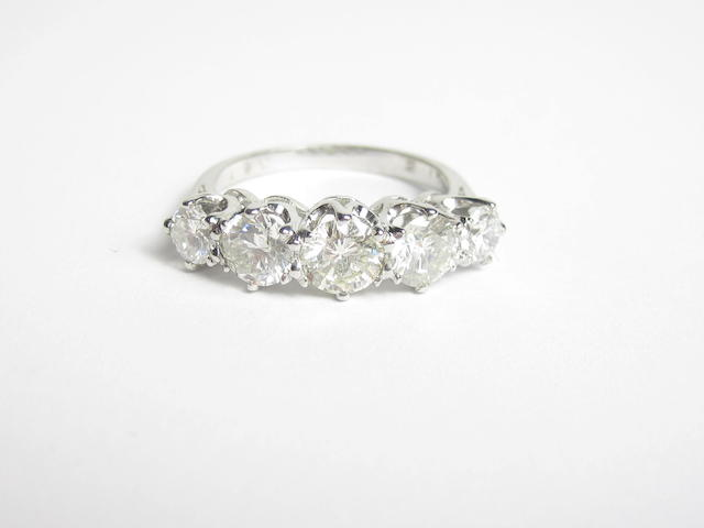 A diamond five-stone ring