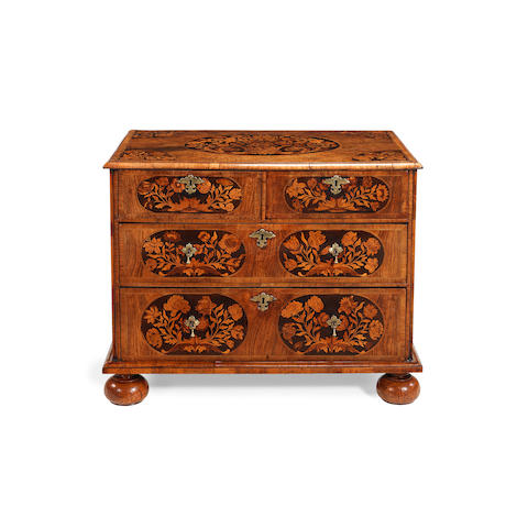 A William and Mary walnut, crossbanded and sycamore floral marquetry chest
