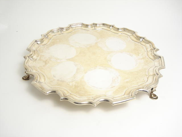 A silver salver by C.A.Alston, London 1920
