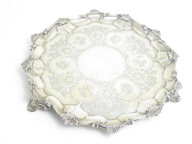A Victorian silver salver by Alexander Macrae, London 1859