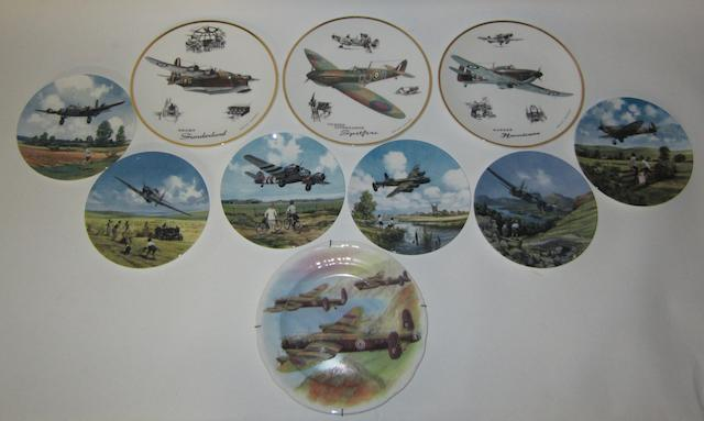Nine limited edition Aviation themed ceramic plates, by Royal Doulton,