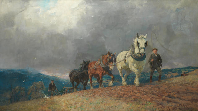 Lucy Elizabeth Kemp-Welch (British, 1869-1958) The Approaching Storm 88.9 x 154.4 cm. (35 x 60 3/4 in.)