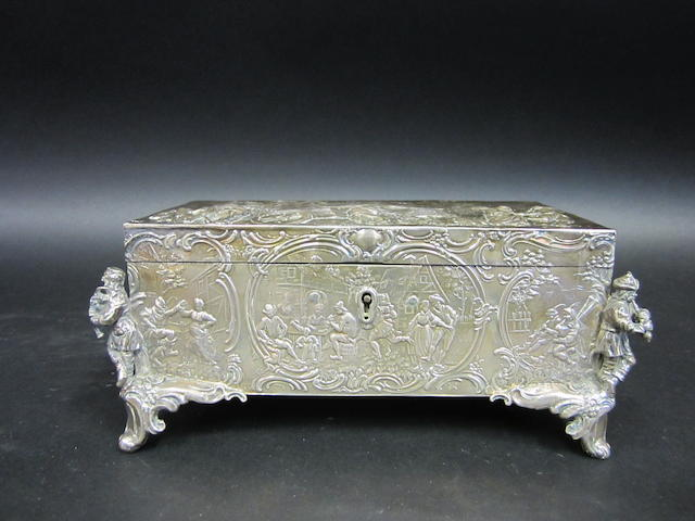 A Dutch silver figural casket by B.Neresheimer & Sohne, Hanau, imported by Berhold Muller, Chester 1906