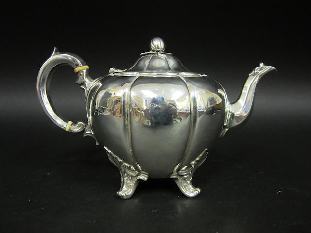 A Victorian silver melon teapot by the Barnards, London 1842