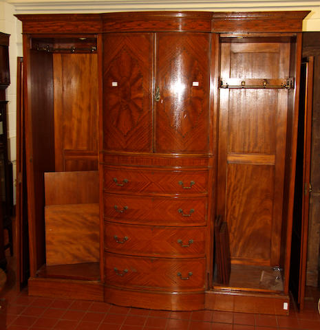 An Edwardian inlaid satinwood triple wardrobe