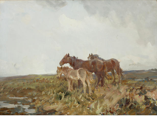Charles Walter Simpson, R.I., R.O.I. (British, 1885-1971) Ponies on the Moor