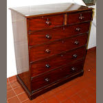 A mid-19th century mahogany chest of two short and four long graduated drawers