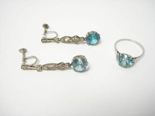 A suite of blue zircon jewellery