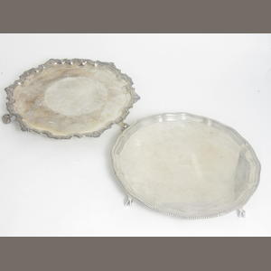 A Britannia standard silver salver by The Goldsmiths & Silversmiths Co Ltd, London 1935  (2)