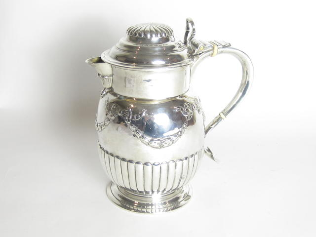 A William IV silver lidded tankard with maker's mark of I.K, possibly for John Kerschner, London 1809