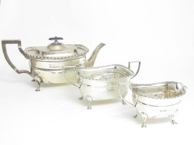 A three piece silver tea service by Fenton Brothers Ltd, Sheffield 1915