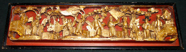 A Chinese carved gilt panel