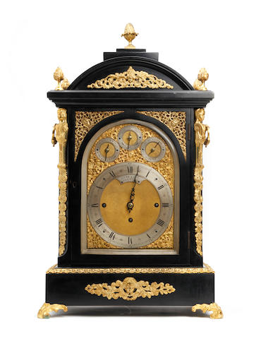 A fine ormolu and ebonised 19th century triple fusee musical table clock with Westminster chime and rise and fall pendulum Retailed by Lowe & Sons, Chester