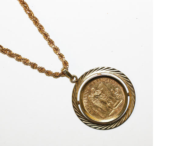 A 20 franc coin set pendant mounted on chain,
