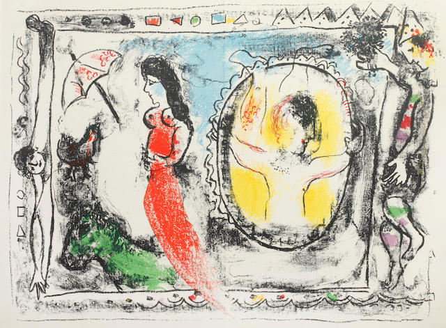 Marc Chagall (Russian/French, 1887-1985) Behind the looking glass (Mourlot 412) Lithograph printed in colours, 1964, on wove, as published in Derrière le Miroir volume 147, 465 x 345mm (18 1/4 x 13 1/2in)(I)