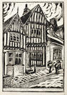 Cyril Edward Power (British, London 1872-1951) At Lavenham Linocut printed in black, c.1926, on buff oriental laid tissue, signed, inscribed 'sculpt et imp', titled and numbered 10/100 in pencil, with margins, 255 x 174mm (10 1/8 x 6 7/8in)(B)(unframed)