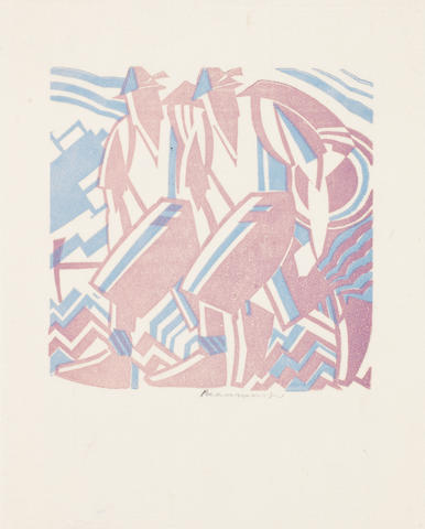 Leonard Beaumont (British, 1891-1986) Guides Linocut printed in colours, 1935, one of only a few impressions, on thin oriental laid, signed in pencil, with full margins, 100 x 100mm (4 x 4in)(B) unframed