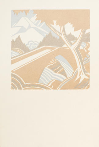 Leonard Beaumont (British, 1891-1986) A Collection 'Mountain Stream' (Dickson 56), linocut in colours, 1932, on watermarked laid, with the stamped monogram verso, 103 x 101mm (4 x 4in)(B); 'Art Deco Horses Heads'(D.85), an end paper design, linocut on green coloured paper, 1935,  149 x 115mm (6 x 4 1/2in)(SH); 'Janus'(First Version)(D.46), linocut, 1930, on tissue thin wove, 126 x 87mm (5 x 3 3/8in)(B); 'New World'(D.78), linocut, 1935, on thin card, 140 x 134mm (5 1/2 x 5 1/4in)(SH); 'Christmas Card Design', (D.92), linocut, 1937, on thin card, 189 x 367mm (7 1/2 x 14 1/2in)(SH); together with an artist's book with linocut designs on outer boards, signed and inscribed in ink on the first page 'for Joyce R Hinsworth, from the Master of the City of Sheffield Art Crafts Guild with thanks for splendid services, Leonard Beaumont', July 25th 1936' 5 unframed, 1 vol