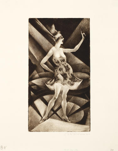 Christopher Richard Wynne Nevinson A.R.A. (British, 1889-1946) The Roof Gardens Mezzotint, 1919,  a richly inked impression, on cream F. J. Head & Co watermarked laid, signed in pencil, from the edition of 50, with full margins, 212 x 116mm (8 1/4 x 4 1/2in)(PL) unframed