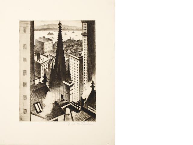 Christopher Richard Wynne Nevinson A.R.A. (British, 1889-1946) The Temples of New York Drypoint, 1919, a rich impression with burr and delicate plate tone, on cream F. J. Head & Co watermarked laid, signed in pencil, from an edition not exceeding 75, with margins, 201 x 150mm (8 x 6in)(PL) unframed