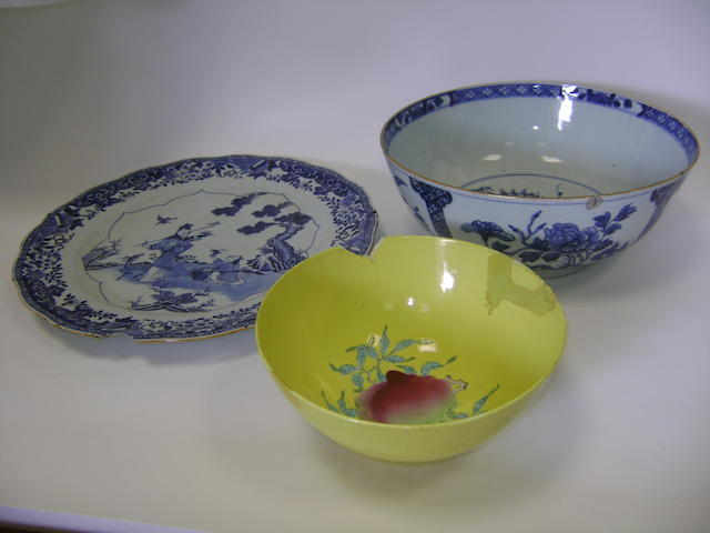 Two blue and white wares and a famille rose bowl Qing Dynasty or later