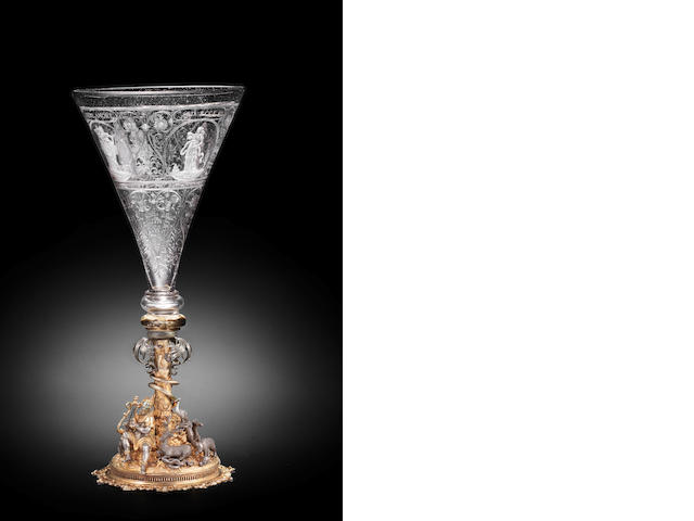 A Nuremberg engraved goblet, signed by Georg Schwanhardt the Elder, circa 1630, on a silver-gilt mount by Friedrich Hillenbrandt, Nuremberg, circa 1590