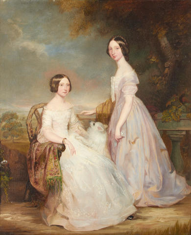 British School, 19th Century Portrait of two girls and their dog