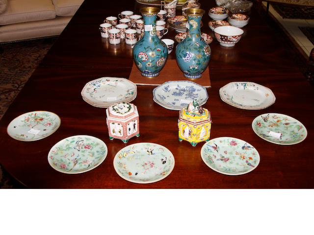 Six late 18th Century Chinese famille rose plates,one blue and white plate, 23cm diameter, five Cantonese famille rose celedon ground plates, a pair of modern cloisonne vases and two other items (16)