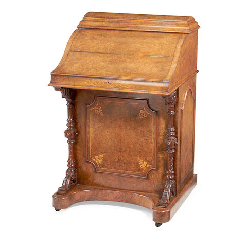 A mid Victorian burr walnut and fruitwood inlaid 'pianotop' davenport