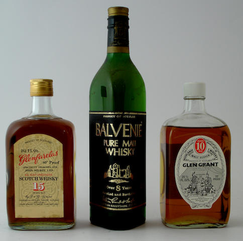 Glenfarclas-15 year old<BR /> Balvenie-Over 8 year old<BR /> Glen Grant-10 year old