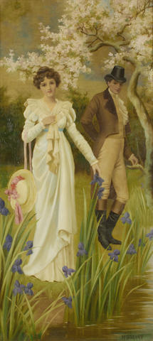 Harry Baldry (British, active 1887-1890) Lovers by the brook; Lovers by the gate, a pair