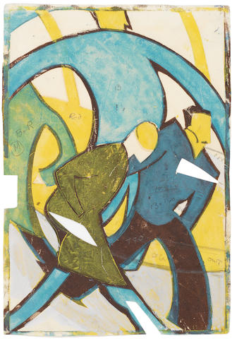 Ursula Fookes (British, 1906-1991) Two Men Walking Linocut printed in colours, on wove, a stage proof, inscribed in pencil, with margins, 245 x 165mm (9 5/8 x 6 1/2in)(B); together with two studies in pencil on tracing paper, one with additions in watercolour, each inscribed in pencil, various sizes (3) unframed