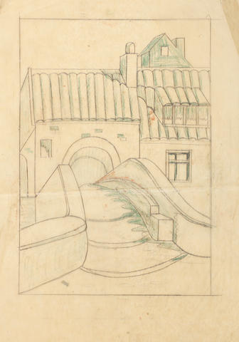 Ursula Fookes (British, 1906-1991) Station; Arches; House bridge Three pencil studies for linocuts, c.1930, two with additions in crayon, each inscribed in pencil, various sizes (3) unframed