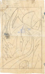 Ursula Fookes (British, 1906-1991) Swiss Mountains Two prepatory studies for a linocut, one in waterclour, one in pencil on tracing paper, each inscribed in pencil, various sizes (2) unframed