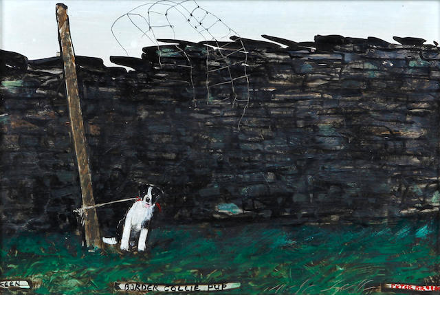 Peter Brook (British, 1927-2009) 'Keen - Border Collie Pup'