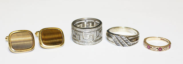 Three rings and a pair of cufflink,