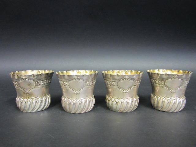 A Victorian silver set of four Fern pots by Deakin & Francis, Birmingham 1891