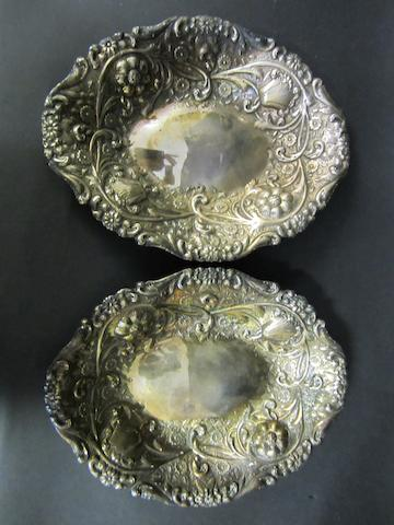 A Victorian silver pair of oval dishes by Sibray & Hall, London 1888/89