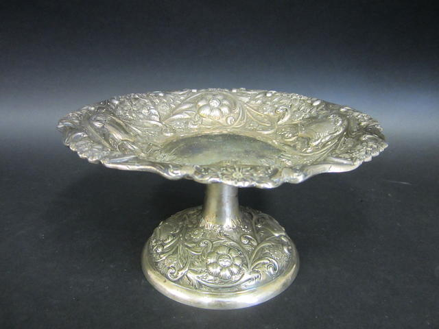 A Victorian silver pedestal bowl by Sibray & Hall, London 1888
