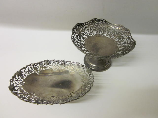 An oval silver dish,  by E Viner,  Sheffield 1941,   (2)