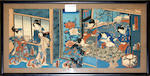 Five various Japanese and other prints comprising: two iban wood block prints of actors, signed Kunisada, (framed as one) 35 x 48cm; two colourd engravins of Chinese figures by Robert Herdman-Smith; and two further Japanese prints,